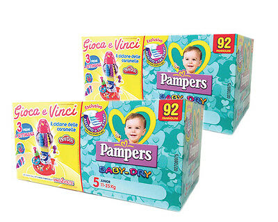 2 x Pampers b/dry 5 junior quadripacco