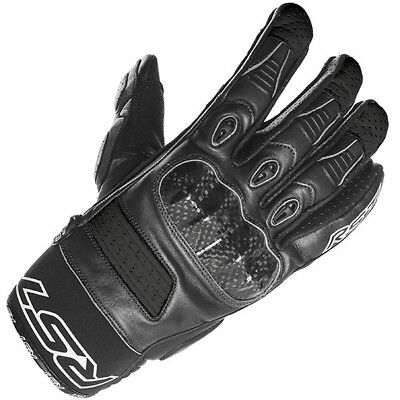 RST Freestyle Sports Leather Motorcycle Motorbike Summer Gloves - Black