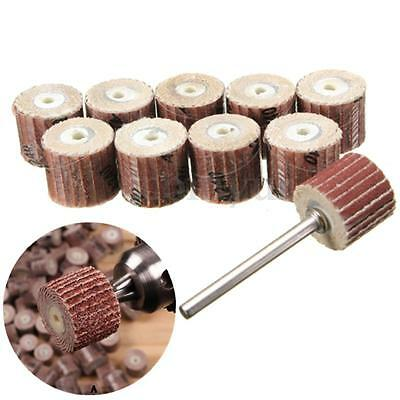 10pcs Flap Wheel Disc Shaft Abrasive Sanding Drill Polish For Rotary Tool New