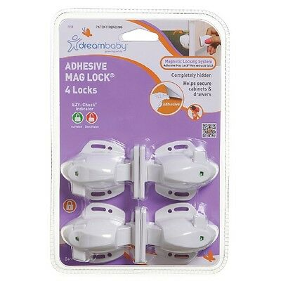New Dreambaby Adhesive Mag Lock 4 Locks - Magnetic Locks for Cabinets & Drawers
