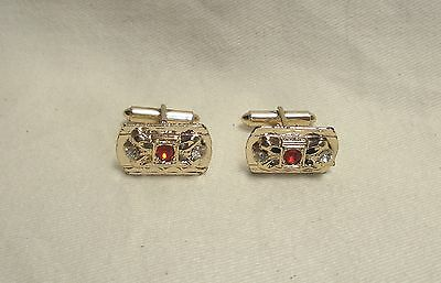 "Vintage Men's Red Clear Rhinestone Gold Tone Cuff Links - 7/8"" W x 1/2"" H"
