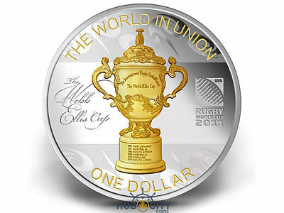 2011 New Zealand $1 Rugby World Cup 1oz .999 Gold-Gild Silver Coin