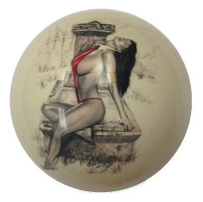 Pool/Billiards Custom Cue Ball Red Bikini Casket Girl Pin-Up Great Gift!