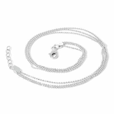 925 Real Sterling Silver Simple 3 x 1mm Bead Chain Anklet Plain Anklets Summer