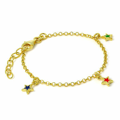 18ct Gold Dipped 925 Sterling Silver Childrens Star Charm Bracelet Charms Kids