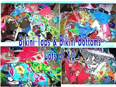 Grab Bag Lot of 10 Bikini Swimsuit Tops or Bottoms NWT Sz XS, S, M, L, XL