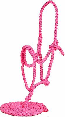 Mustang Flat Nose Braided Rope Halter NWT - Hot Pink