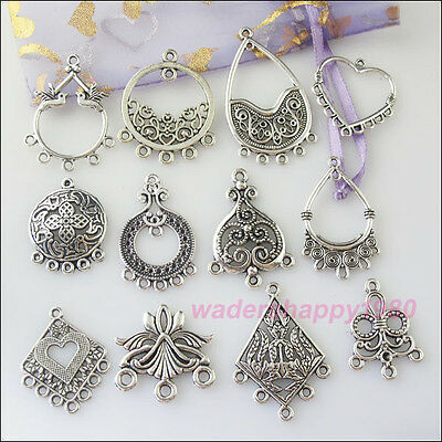 24Pcs New Charms Tibetan Silver Tone Pendant Connector For Jewelry Craft DIY