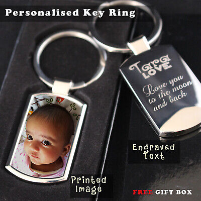 Personalised customised Metal Keyring Photo Printed/ text Engraving Free Giftbox