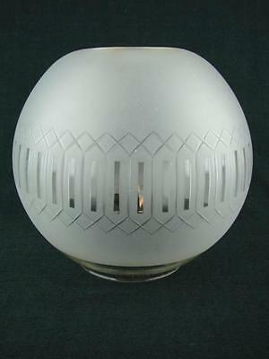 """Stunning Antique Etched And Cut Glass Globe For Oil Lamp,  Duplex 4""""fitter"""
