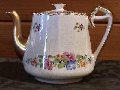 Vintage W.S. George ARGOSY IVORY Collectible Teapot with Warranted 22 Carat Gold
