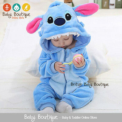 Cute Lilo & Stitch Warm Winter Fleece Baby Boy Girl  Bodysuit Jumpsuit Snowsuit