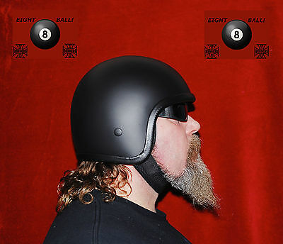 Matt Black Low Profile Novelty Helmet Open Face 8-Ball - Harley Biker Bobber