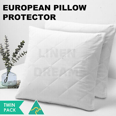 2 x Aus Made European Pillow Protectors-Zipped Quilted Cotton Cover-Anti-Allergy