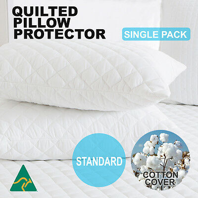 Aus Made Luxury Pillow Protector-Zipped Quilted  Cotton Cover-Anti-Allergy