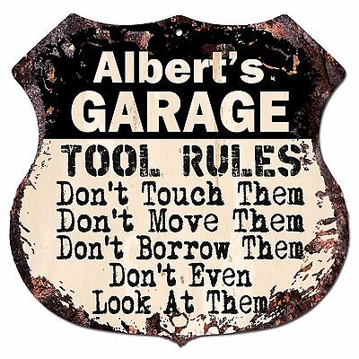 Richard/'s Man Cave Rules Chic Rustic Green Sign Home Metal 108120049719