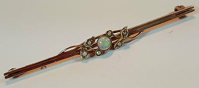 SUPERB ANTIQUE 9ct GOLD TIE PIN BAR BROOCH - FIERY OPAL & SEED PEARL