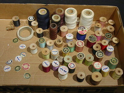 Vintage Lot Wood Sewing Spools With Without Thread Clarks Kismet Star Boilfast