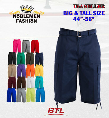 Btl Men's Big & Tall Cargo Shorts With Belt Cotton Twill 19 Colors Size 44~56