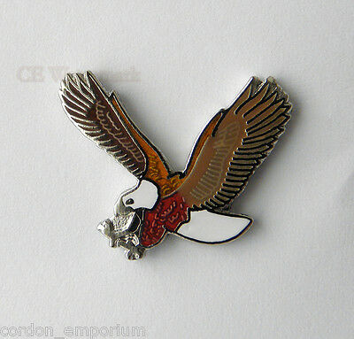 Bird Flying Eagle Landing Branch Red Brown Lapel Pin Badge 3/4 Inch