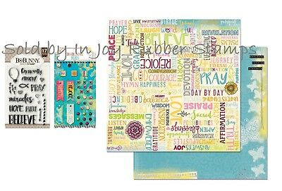 """BoBunny BELIEVE Collection Pack 12""""x12"""", Brads, AMEN Clear Stamp Set"""