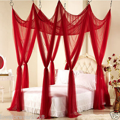Wedding set bedding canopy bedroom decoration mosquito net hook king size red