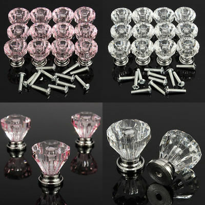 12pcs Diamond Crystal Glass Door Knobs Cupboard Drawer Cabinet Kitchen Handles