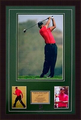 Tiger Woods PGA US Open Masters Augusta Golf Framed Signed Photo Collage