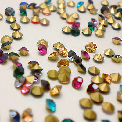 Mixed Colours Point back Rhinestones Crystal Glass Strass Chatons Nail Art U2