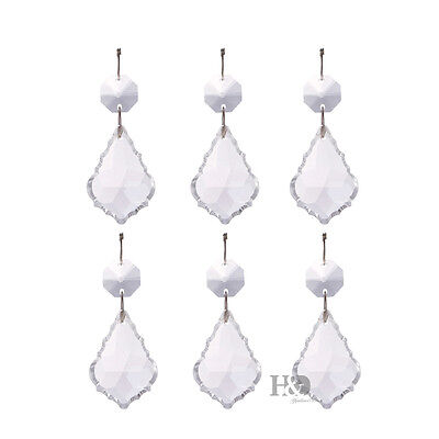 5pcs Clear Suncatcher Hanging Maple Leaf Crystal Rainbow Prism Drop Pendant 38mm