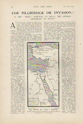 1914 Wwi ~ 3 Page Article & Pics Hedjaz Holy Railway To Mecca Opening Ceremony