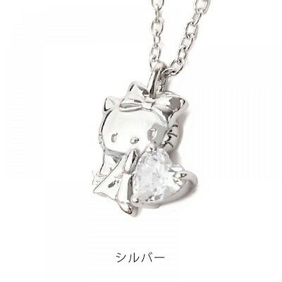 Hello Kitty Little Lady Heart CZ pendant necklace Silver Gift NEW Japan F/S