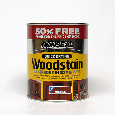 Ronseal Quick Drying Woodstain Satin - Mahogany - 750ml Special Offer Pack