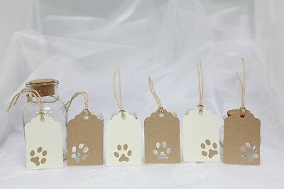 6 Handmade Medium Paw Print Tags