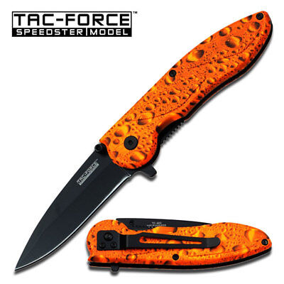 TAC FORCE Orange Water Drop Spring Assisted Open Folding Pocket Knife NEW