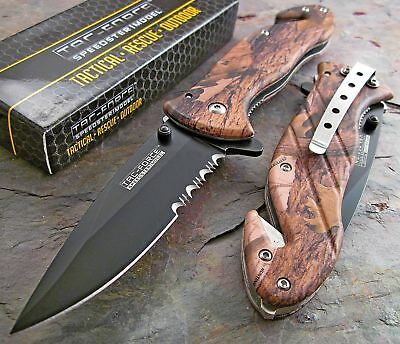 TAC-FORCE Speed Assisted HD HARDWOODS CAMO Glass Breaker Rescue Knife NEW!!