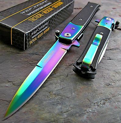 TAC-FORCE FAST Assisted Opening RAINBOW SPECTRUM Stiletto Speedster Knife NEW!!