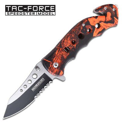 TAC-FORCE Speed Assisted Opening RED CAMO Glass Breaker Rescue Knife Brand NEW!!