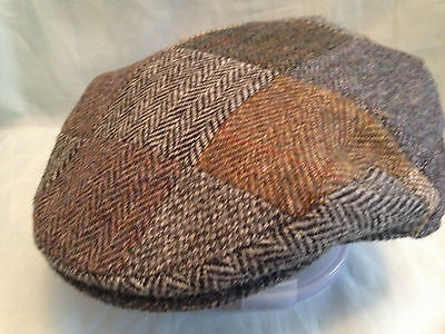 Mens Traditional  Pure Wool Harris Tweed Patch Work Flat Cap From Scotland