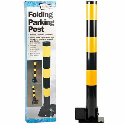 Folding Robust Security Parking Post Driveway Bollard Lock & 3 x Keys