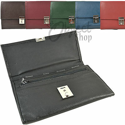 PU Leather Travel Wallet Passport Holder Document Cover Lock Credit Card ID