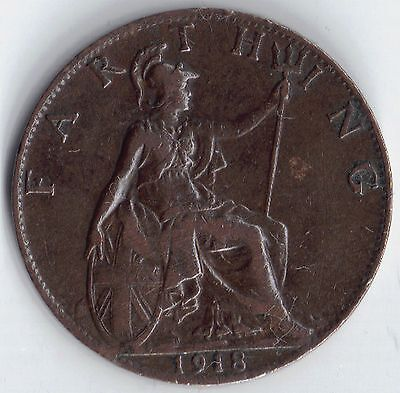 GB - UK 1918 Bright 1/4d Farthing George V 1911-1936 VF Very Fine