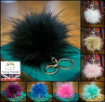 New FAUX Fake Rabbit Fur Ball Pompom Bag Charm Key Ring 12cm Large Fluffy