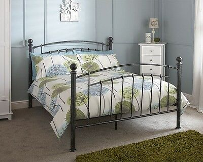 Traditional Style Brompton Metal Bed Frame Pewter Finish 4ft6 Double Or 5ft King