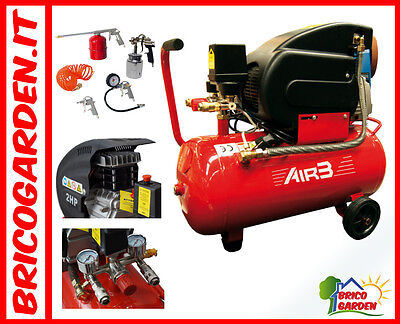 Compressore Aria 50 LT  litri Lubrificato 2Hp 8 bar su ruote + kit 5 accessori