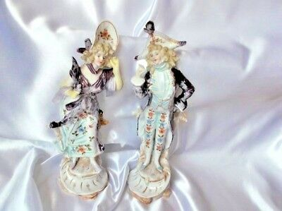 Antique Pair Of 19Th Century Porcelain French Type Figurines