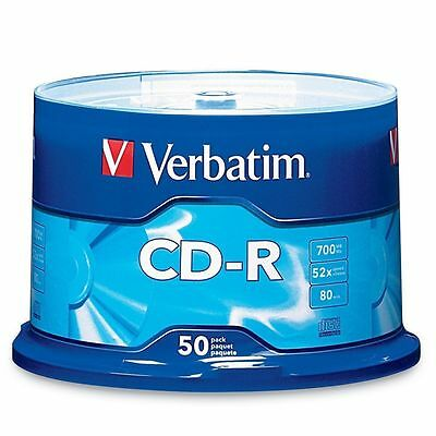 50 VERBATIM CD-R CDR 700MB 52X Branded 80min Media Disc 94691 FREE 50 sleeves