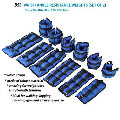 Adjustable Ankle Wrist Weight Strength Training Exercise Gym 1 2 3 4 5 6 KG Blue