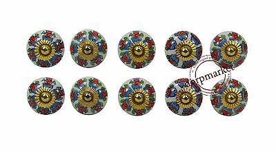 Set Of 10 Red With Mix Color Fish Designed Ceramic Knobs Cupboard Drawer Pulls-9