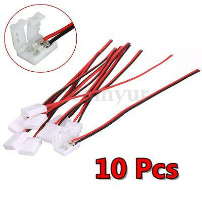 10x 8mm Female 2 Pin STRAIGHT Connector & Wire For Led Strip Light RGB 5050 3528